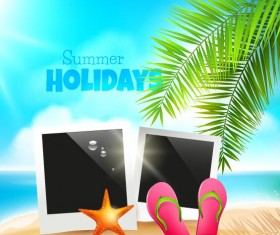Blue sea with summer travel background vectors 01