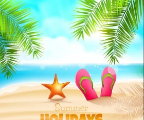 Blue sea with summer travel background vectors 02