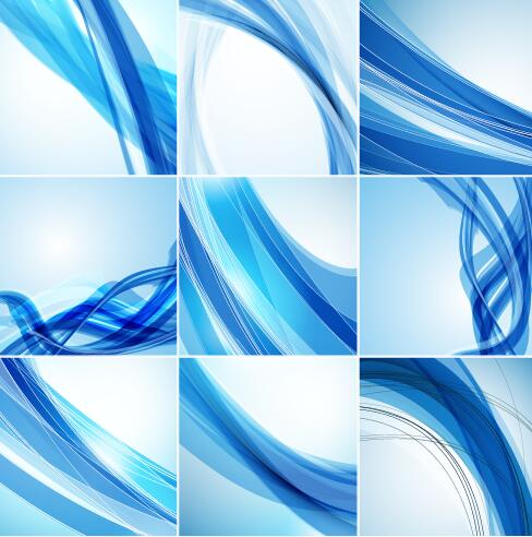 Blue wavy lines with abstract background vector 03