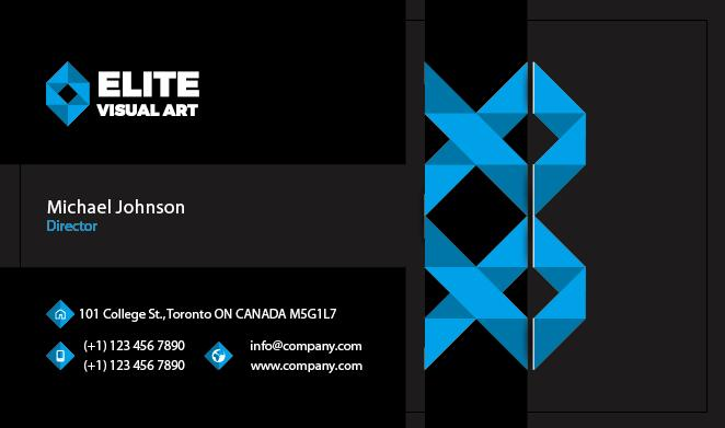Blue With Black Business Card Front Vector