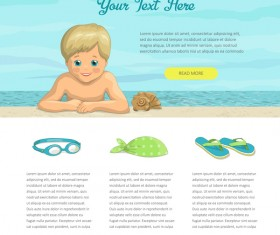 Boy with summer holiday background for text vector