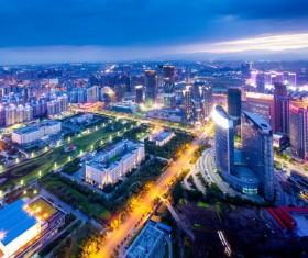 Brightly lit city night view Stock Photo