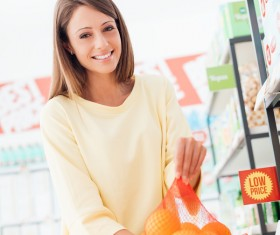 Buy fruit lady Stock Photo