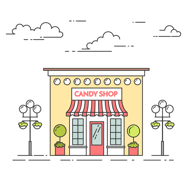 Candy street shop vector template 03