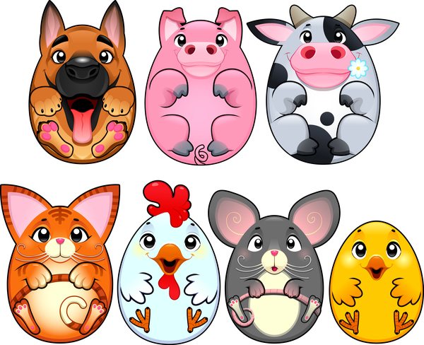 Cartoon animal egg shape vector