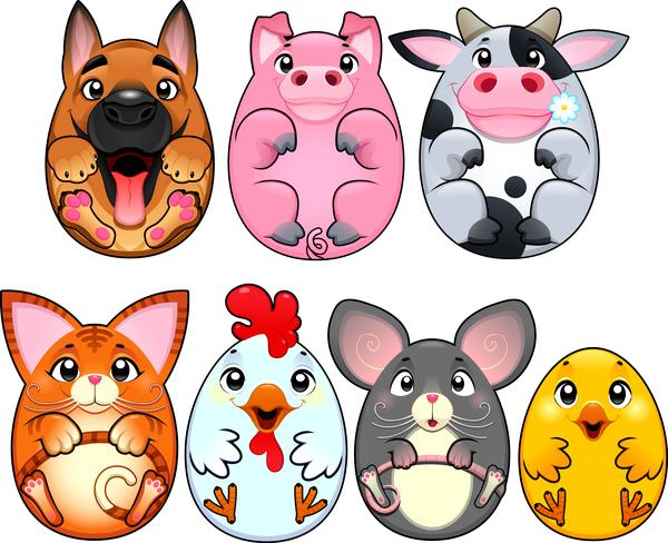 Cartoon animal egg shape vector