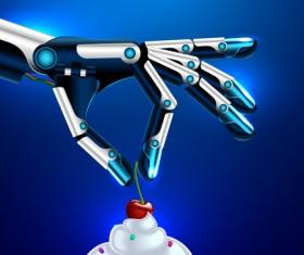 Cherry ice cream with robot hand vector