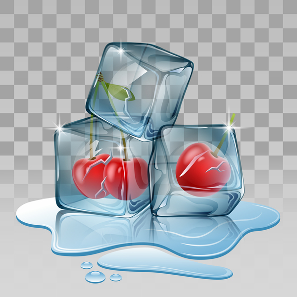 Cherry with ice cubes illustration vector