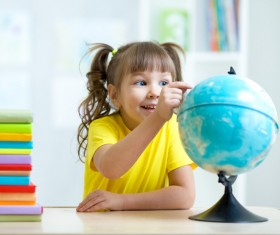 Children and globe Stock Photo
