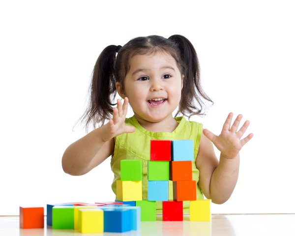 Children play with building blocks Stock Photo free download