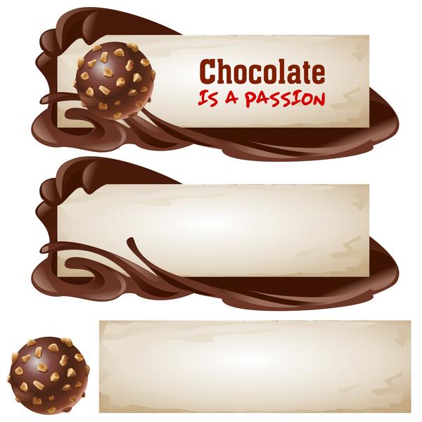 Chocolate banners retro vectors 02