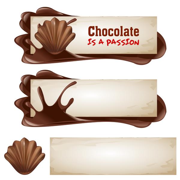 Chocolate banners retro vectors 04