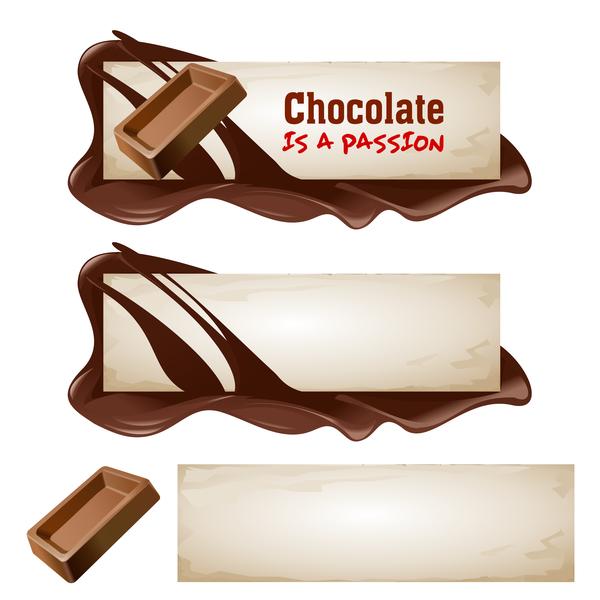 Chocolate banners retro vectors 06