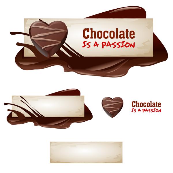Chocolate banners retro vectors 07