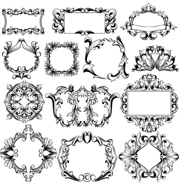 Classical ornaments frame vector set free download