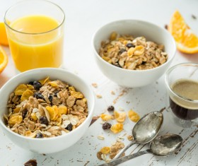 Coffee Juice and Cereal Stock Photo