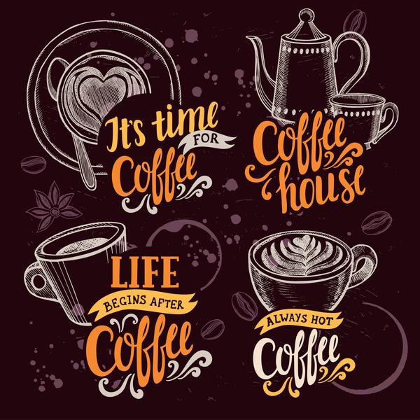 Coffee logos design hand drawn vector 01