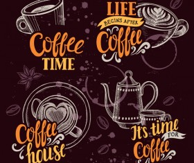 Coffee logos design hand drawn vector 02