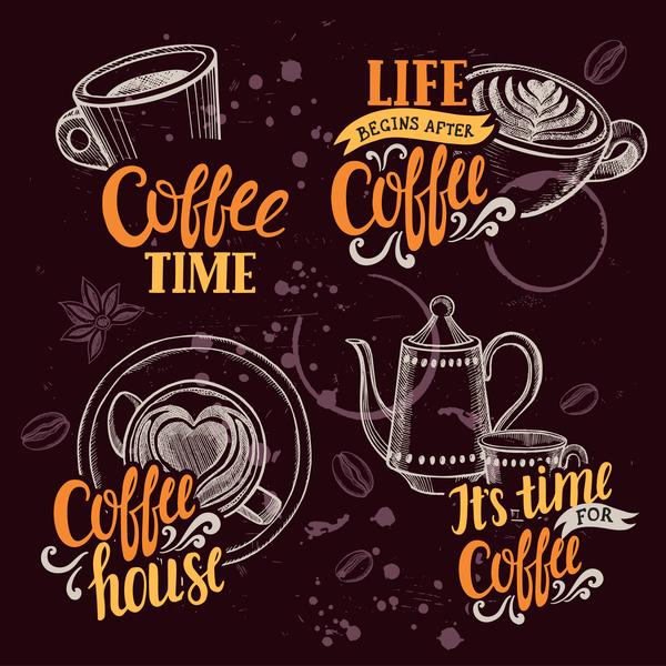 Coffee logos design hand drawn vector 02