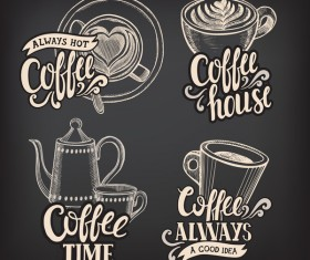Coffee logos design with chalkboard background vector 01