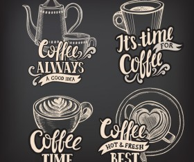 Coffee logos design with chalkboard background vector 02
