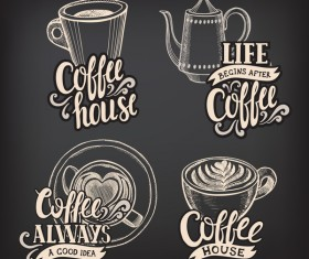 Coffee logos design with chalkboard background vector 03