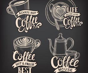 Coffee logos design with chalkboard background vector 04