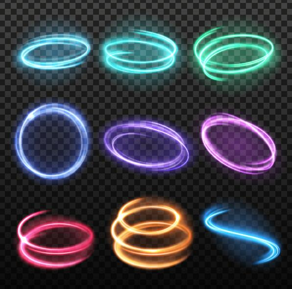 Colored light round effect illustration vector