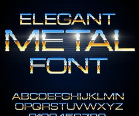 Colored metal alphabet with number vector