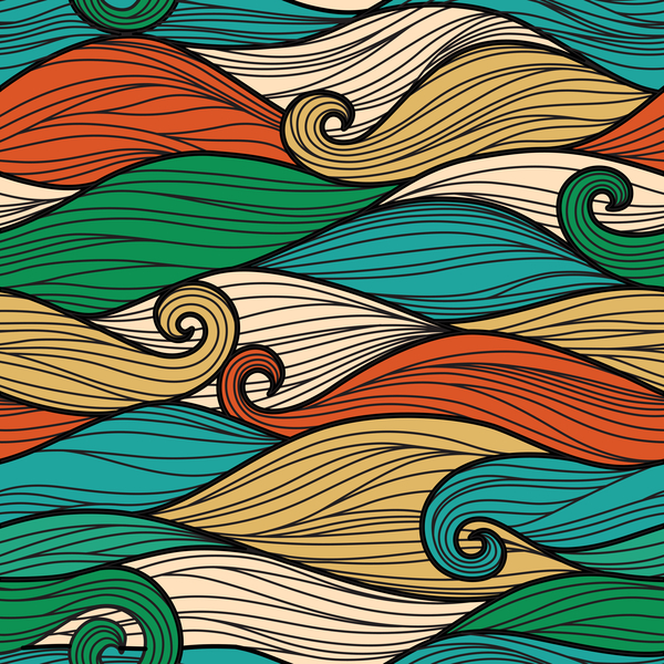 Colored wave decorative pattern seamless vector 06