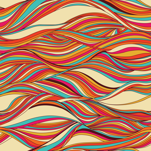 Colored wave decorative pattern seamless vector 08
