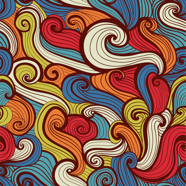 Colored wave decorative pattern seamless vector 09
