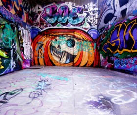 Colorful graffiti painting on the wall Stock Photo