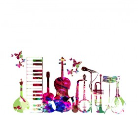 Colorful musical instruments with butterflies vector 01