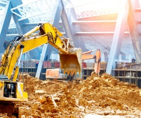 Construction site busy excavator Stock Photo