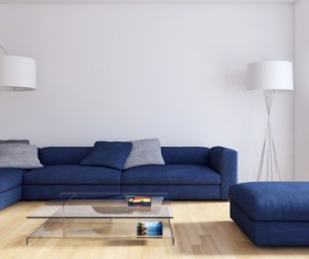 Corner blue sofa and floor lamp HD picture