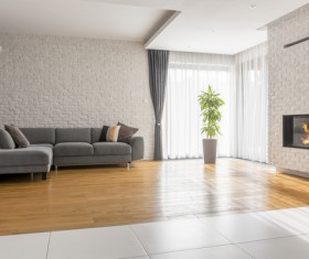 Corner sofa with large plant fireplace living room Stock Photo 02