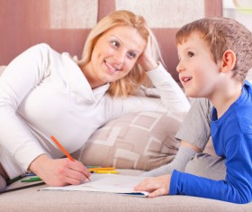 Counseling children working mother Stock Photo