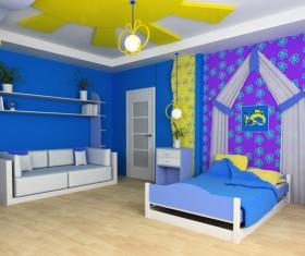Creative childrens room decoration Stock Photo 01