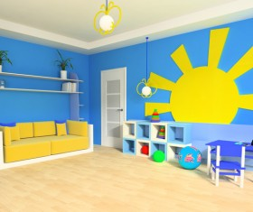 Creative childrens room decoration Stock Photo 03