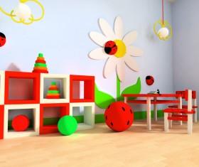 Creative childrens room decoration Stock Photo 04