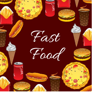 Creative fast food background vector design 01