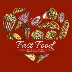 Creative fast food background vector design 02