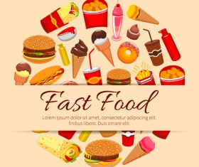 Creative fast food background vector design 03
