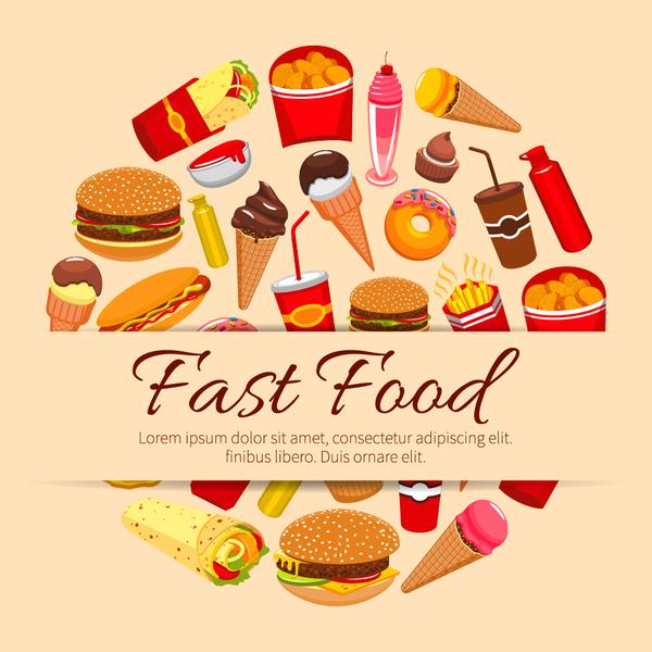 Creative fast food background vector design 03