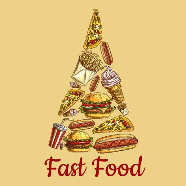Creative fast food background vector design 04