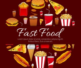 Creative fast food background vector design 05