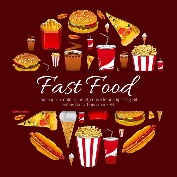 Creative fast food background vector design 05