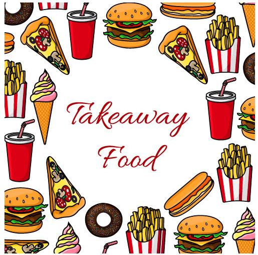 Creative fast food background vector design 06