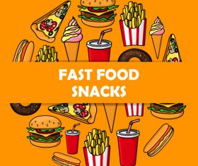 Creative fast food background vector design 07